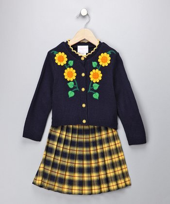 Navy Sunflower Cardigan & Skirt - Girls