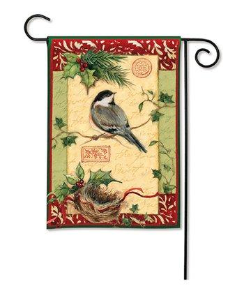 Holiday Chickadee Garden Flag