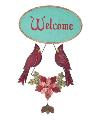 Teal & Red Cardinal 'Welcome' Sign