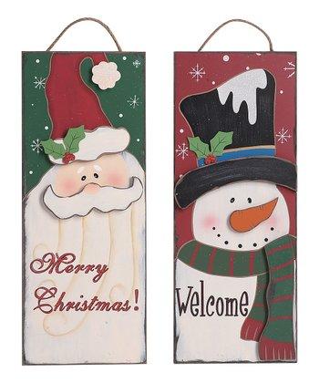 Holiday Santa & Snowman Sign Set