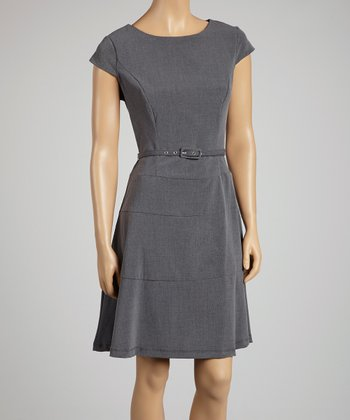 Charcoal Belted Skater Dress