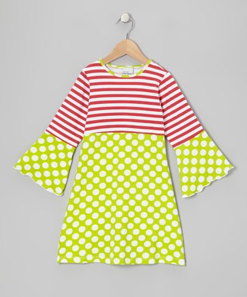 Kiwi Punch Polka Dot Bell-Sleeve Dress - Infant, Toddler & Girls