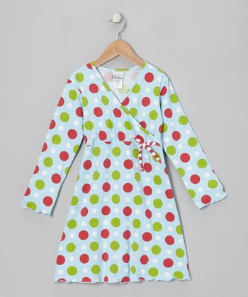 Blue Holiday Dot Surplice Dress - Toddler & Girls