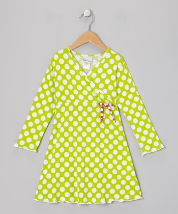 Kiwi Punch Polka Dot Surplice Dress - Infant, Toddler & Girls