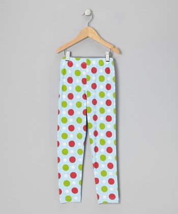 Blue Holiday Dot Leggings - Infant