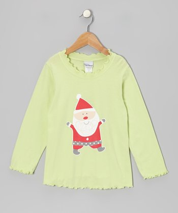 Green Jolly Santa Tee - Toddler & Girls