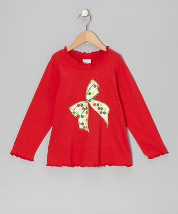Red Classic Dot Bow Tee - Infant, Toddler & Girls