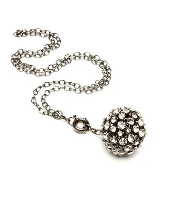 Gunmetal Crystal Ball Pendant Necklace