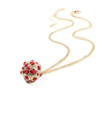Ruby & Gold Pebble Ball Pendant Necklace