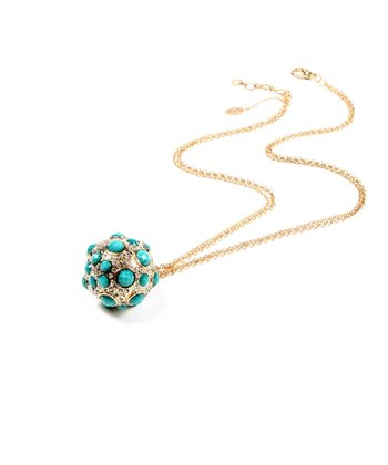 Turquoise & Gold Pebble Ball Pendant Necklace