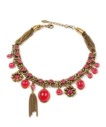 Ruby & Antique Gold Charm Necklace