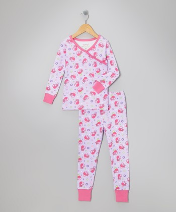 Purple Love Cat Organic Pajama Set - Toddler & Girls