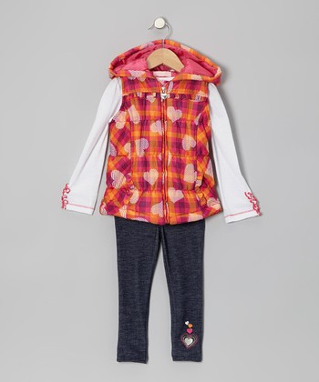 Pink Plaid Heart Vest Set - Toddler & Girls