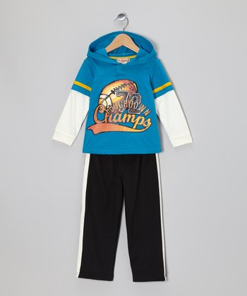 Teal 'Champs' Hooded Layered Tee & Black Track Pants - Boys