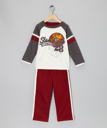 Gray & Maroon 'Slam Dunk' Raglan Tee & Track Pants - Boys