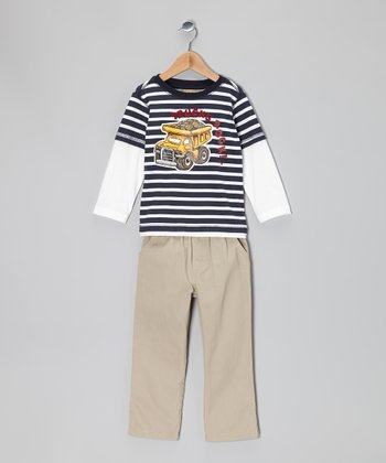 Blue 'Trucks Rock!' Layered Tee & Khaki Pants - Infant