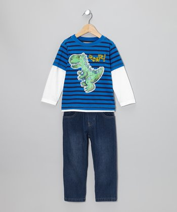 Royal Blue 'Roar!' Layered Tee & Jeans - Infant & Toddler