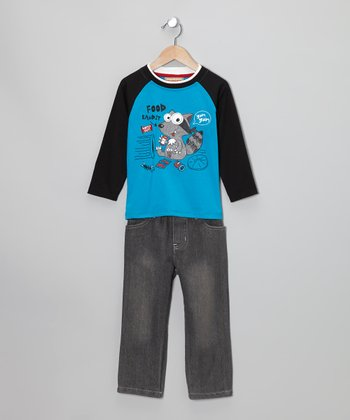 Teal 'Food Bandit' Raglan Tee & Gray Jeans - Boys