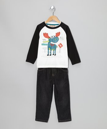 Black Moose Raglan Tee & Jeans - Boys