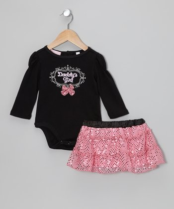 Black 'Daddy's Girl' Bodysuit & Pink Skirt - Infant