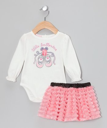 White 'Little Ballerina' Bodysuit & Pink Skirt - Infant