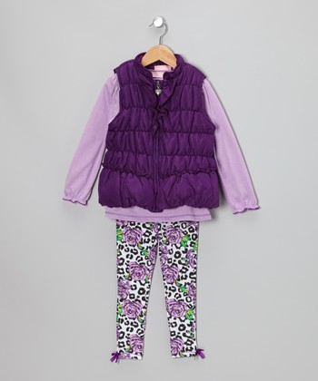 Purple & Black Cheetah Heart Vest Set - Toddler & Girls