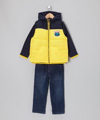 Navy & Yellow 'Dare Devil' Vest Set - Infant