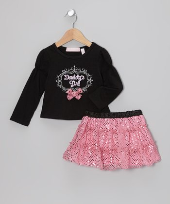 Black 'Daddy's Girl' Tee & Pink Skirt - Toddler & Girls