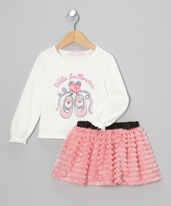 White 'Little Ballerina' Tee & Pink Skirt - Toddler & Girls