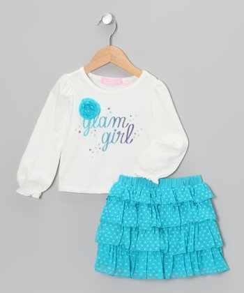 White 'Glam Girl' Tee & Teal Ruffle Skirt - Girls