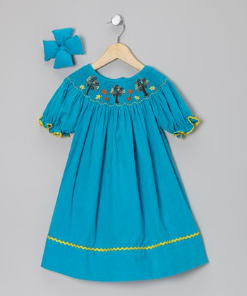 Turquoise Corduroy Bishop Dress & Clip - Infant, Toddler & Girls