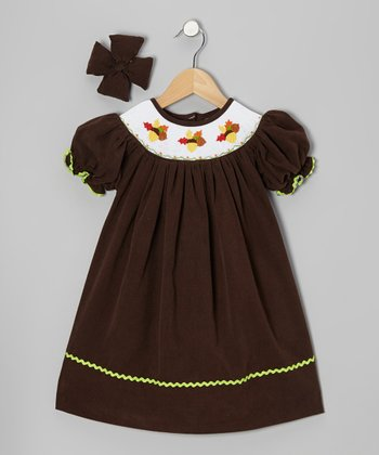 Brown Acorn Corduroy Bishop Dress & Bow Clip - Infant & Girls