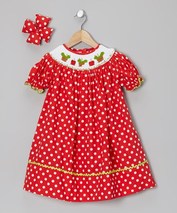 Red Candy Apple Bishop Dress & Bow Clip - Infant, Toddler & Girls