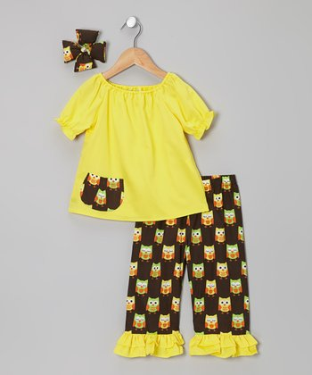 Yellow Owl Ruffle Pants Set - Infant, Toddler & Girls