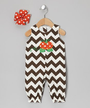 Brown Zigzag Pumpkin Bubble Playsuit & Bow Clip - Infant