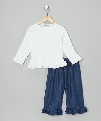 White Tee & Denim Ruffle Pants - Infant & Girls