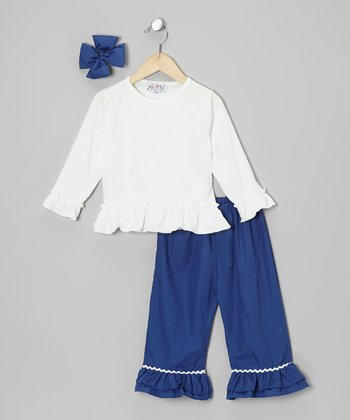 White & Blue Ruffle Pants Set - Infant, Toddler & Girls