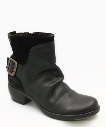 Black Leather Mel Ankle Boot