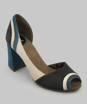 Blue & Off-White Cate Open-Toe Pump