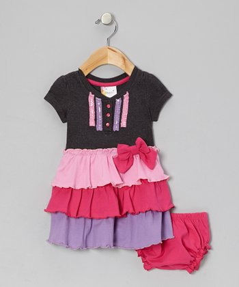 Charcoal & Pink Ribbon Tiered Dress & Diaper Cover - Infant