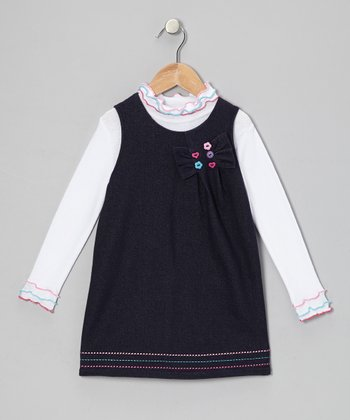 White Mock Neck Top & Blue Jumper - Infant & Toddler