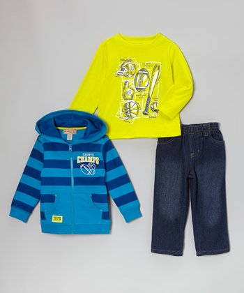 Blue 'Champs' Zip-Up Hoodie Set - Infant