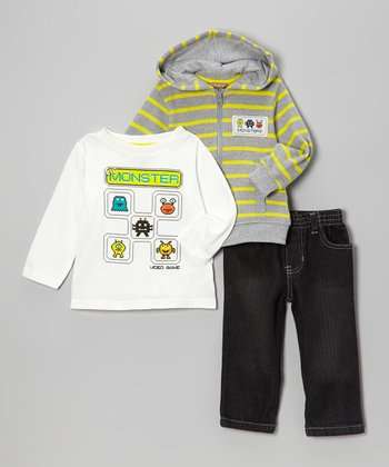 Gray & Yellow Stripe 'Monster' Zip-Up Hoodie Set - Infant