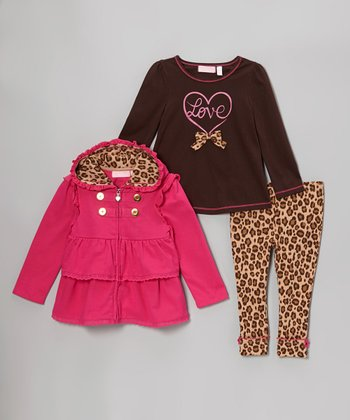 Bright Pink Tier Ruffle Jacket Set - Infant
