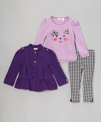 Plum Ruffle Jacket Set - Infant