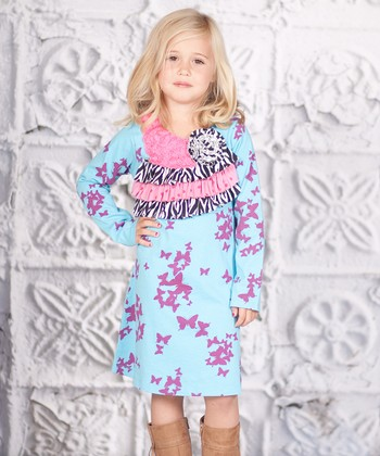 Blue & Purple Butterfly Ruffle Willow Dress - Toddler & Girls
