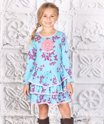 Blue & Purple Butterfly Tiered Lilly Dress - Toddler & Girls
