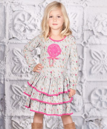 Gray & Pink Floral Tiered Lilly Dress - Toddler