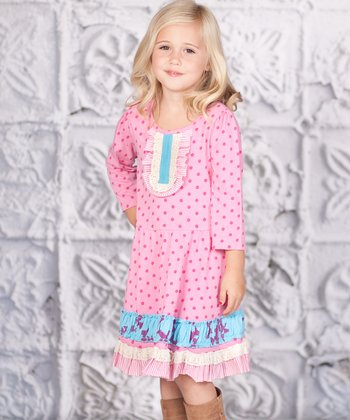 Pink Polka Dot Ruffle Lucy Dress - Toddler