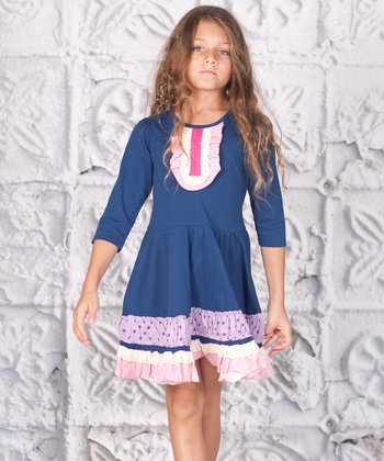 Blue Ruffle Lucy Dress - Toddler & Girls